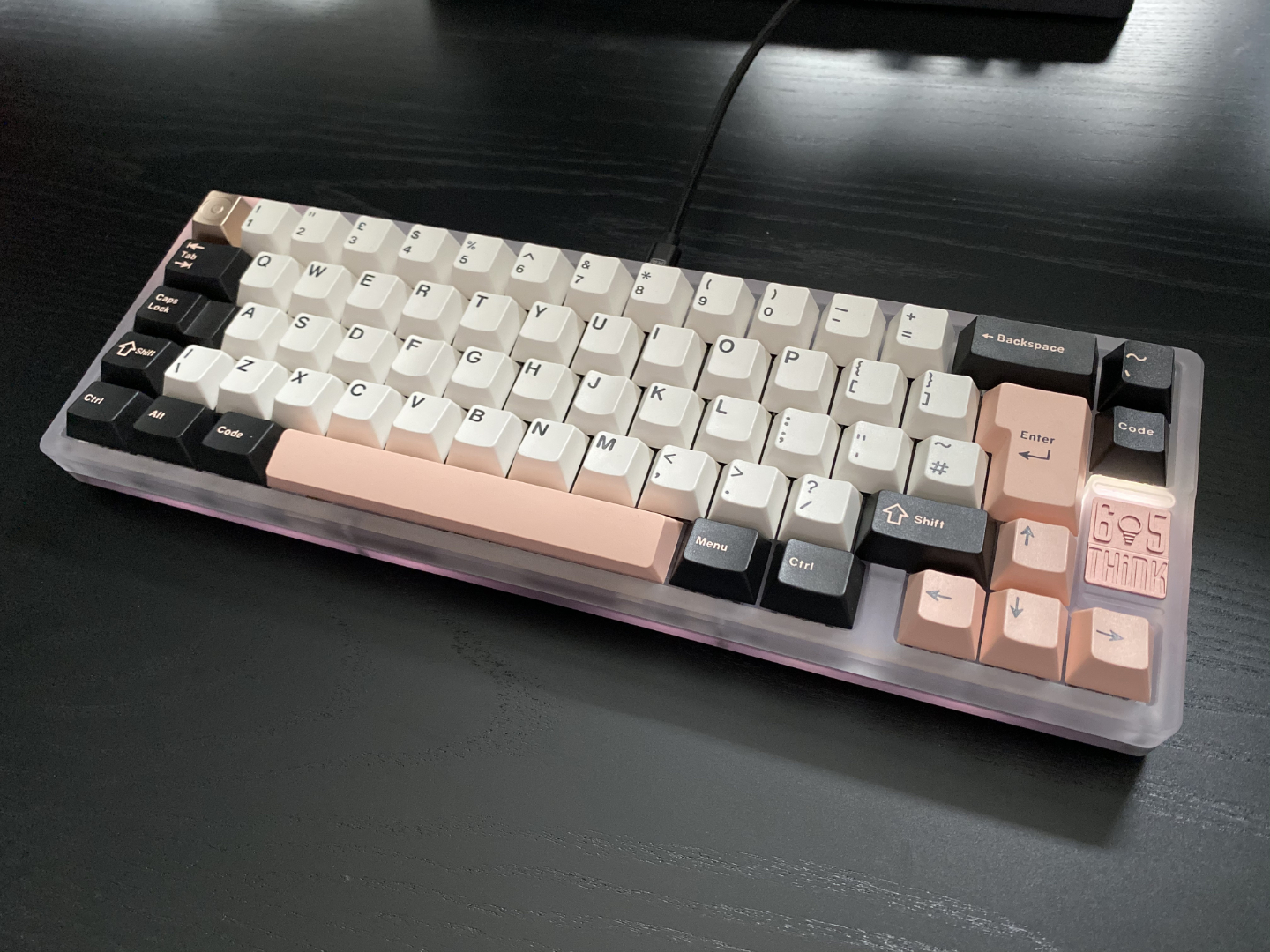 Frosted polycarb, rose gold anodised badge, GMK Olivia from Discord user rys!